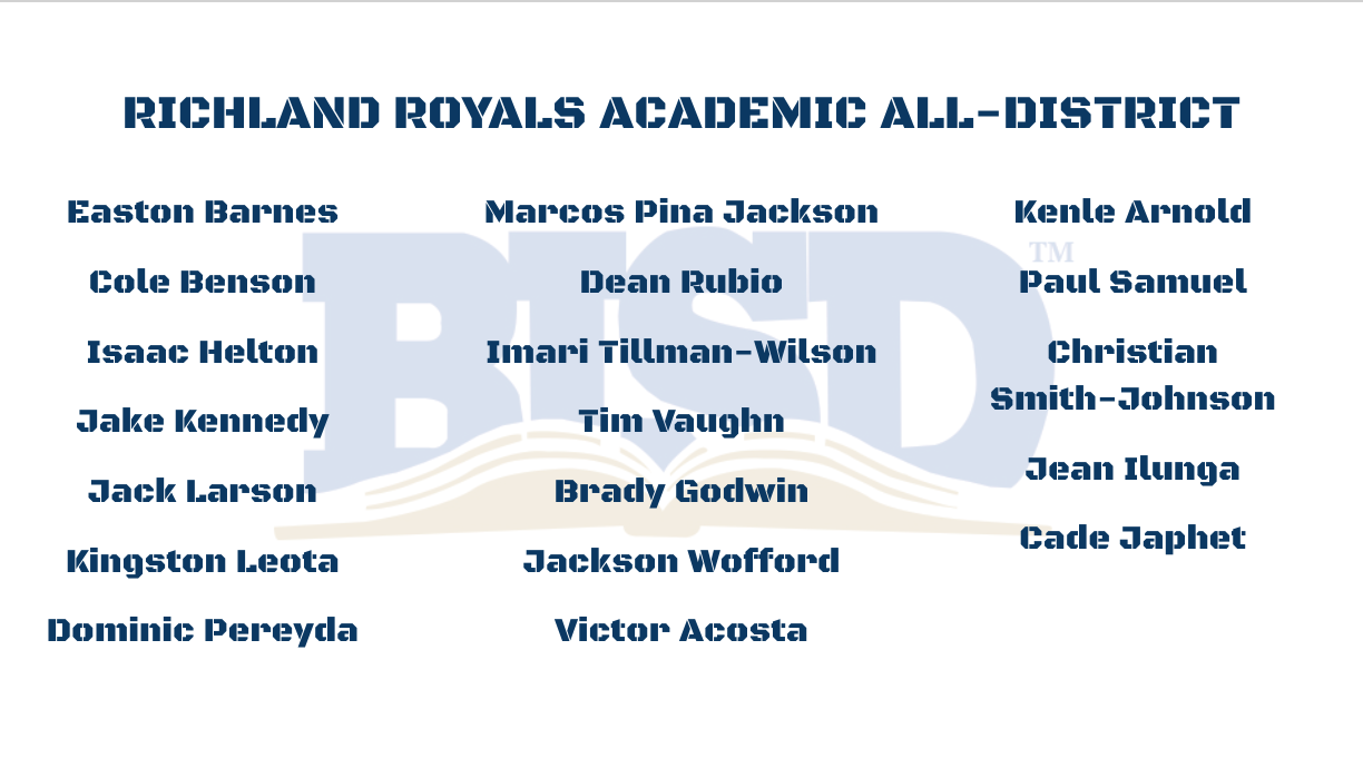 Richland Football Academic All District Selections