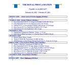 Royal Proclamation Feb. 1 – Feb 5.