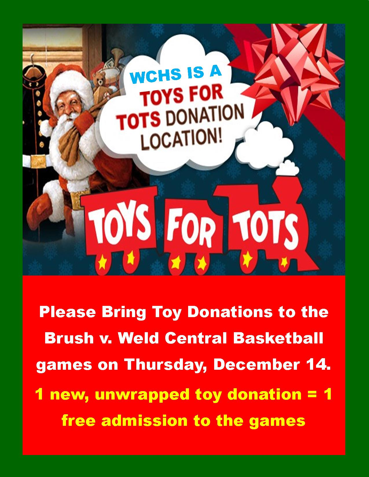 Toys for Tots at Brush v. Weld Central Basketball Games