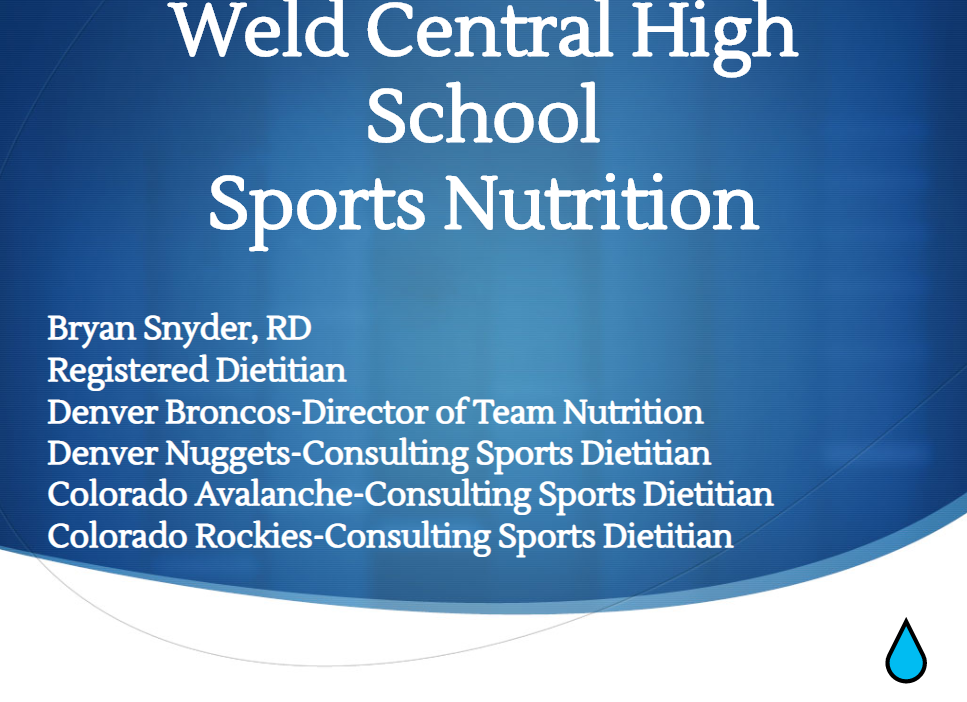Bryan Snyder – Director of Nutrition for the Broncos shared some great info with WCHS