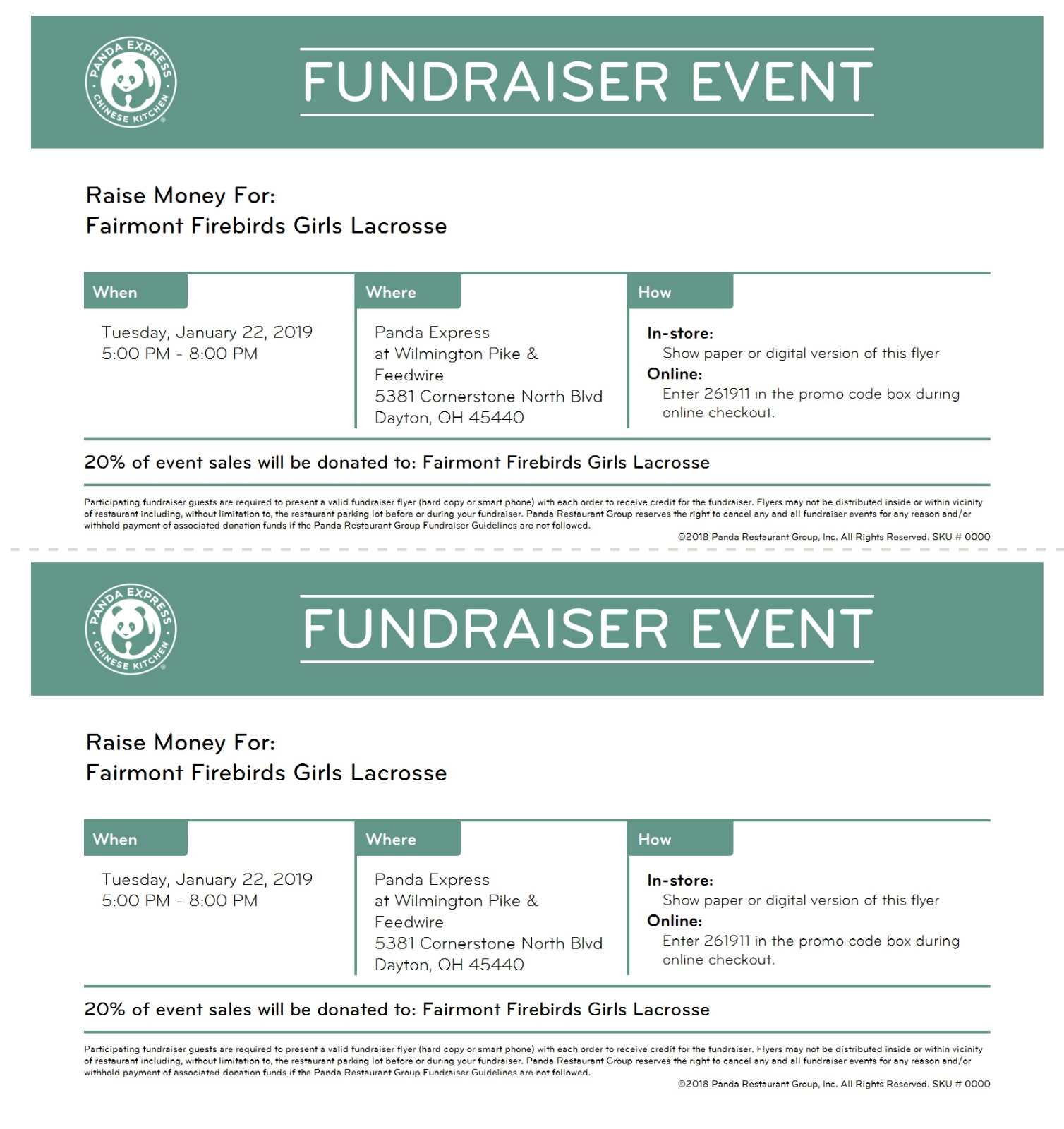 Girls Lacrosse Panda Express Fundraiser Tomorrow