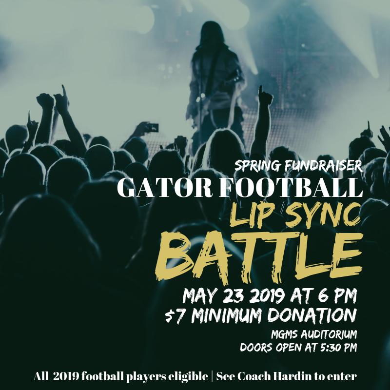 Gator Football Lip Sync Battle | Thursday 5/23 at 6PM | MGMS Auditorium