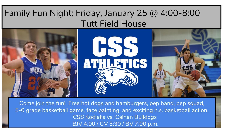 Family Fun Night:  Friday, January 25th