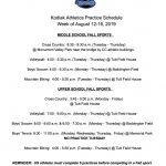 Athletics Practice Schedule Set for August 12-16