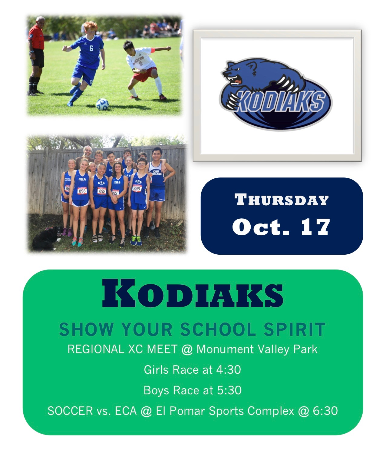 XC and Soccer in Action Thursday: Show Your Support!