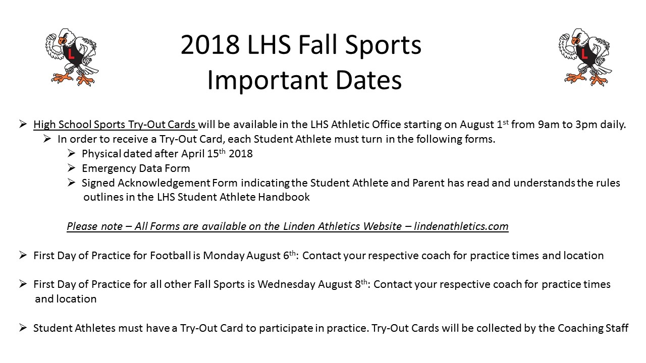 2018 Linden High School Fall Sports Important Information