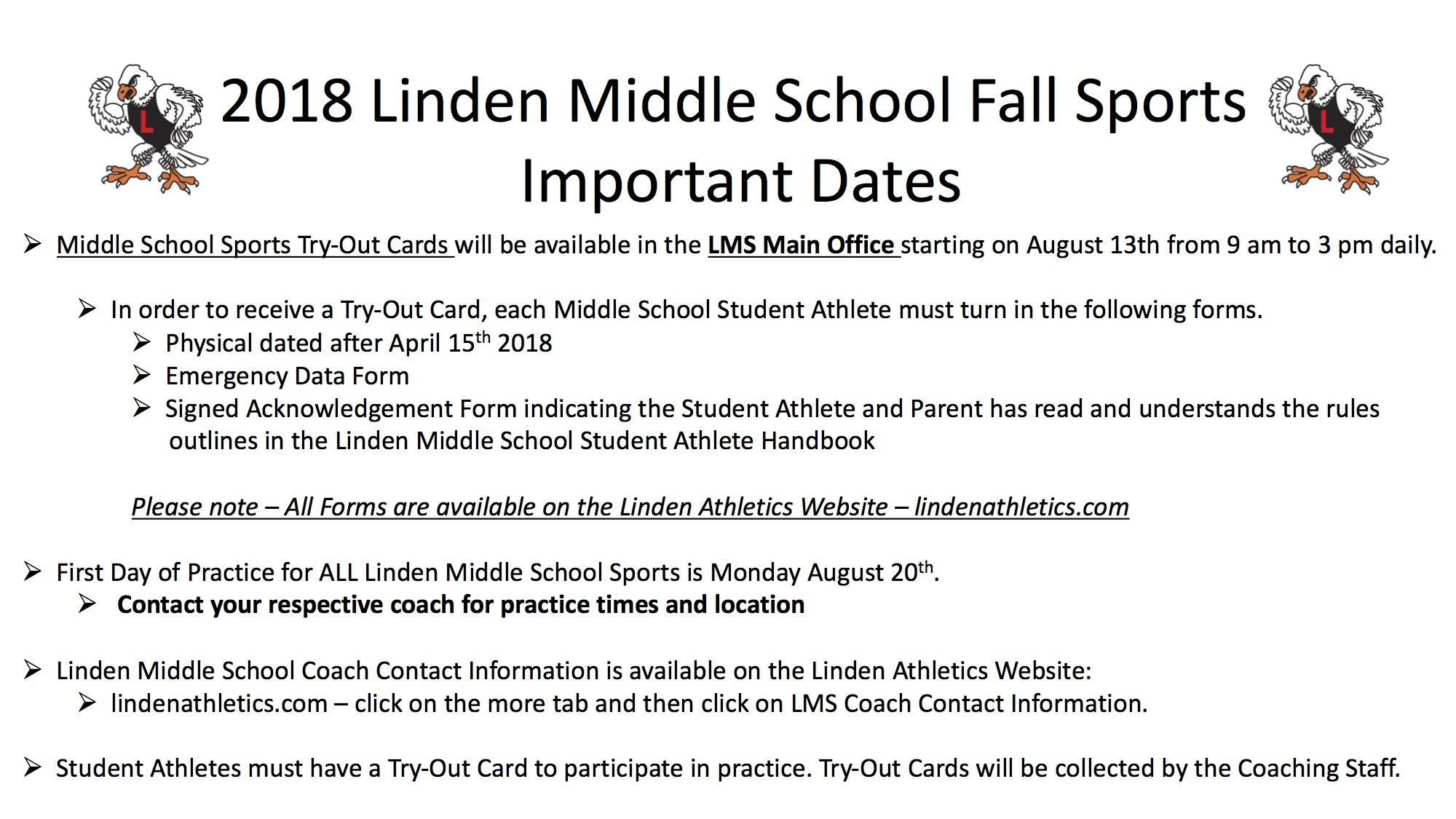 2018 Linden Middle School Fall Sports Important Information