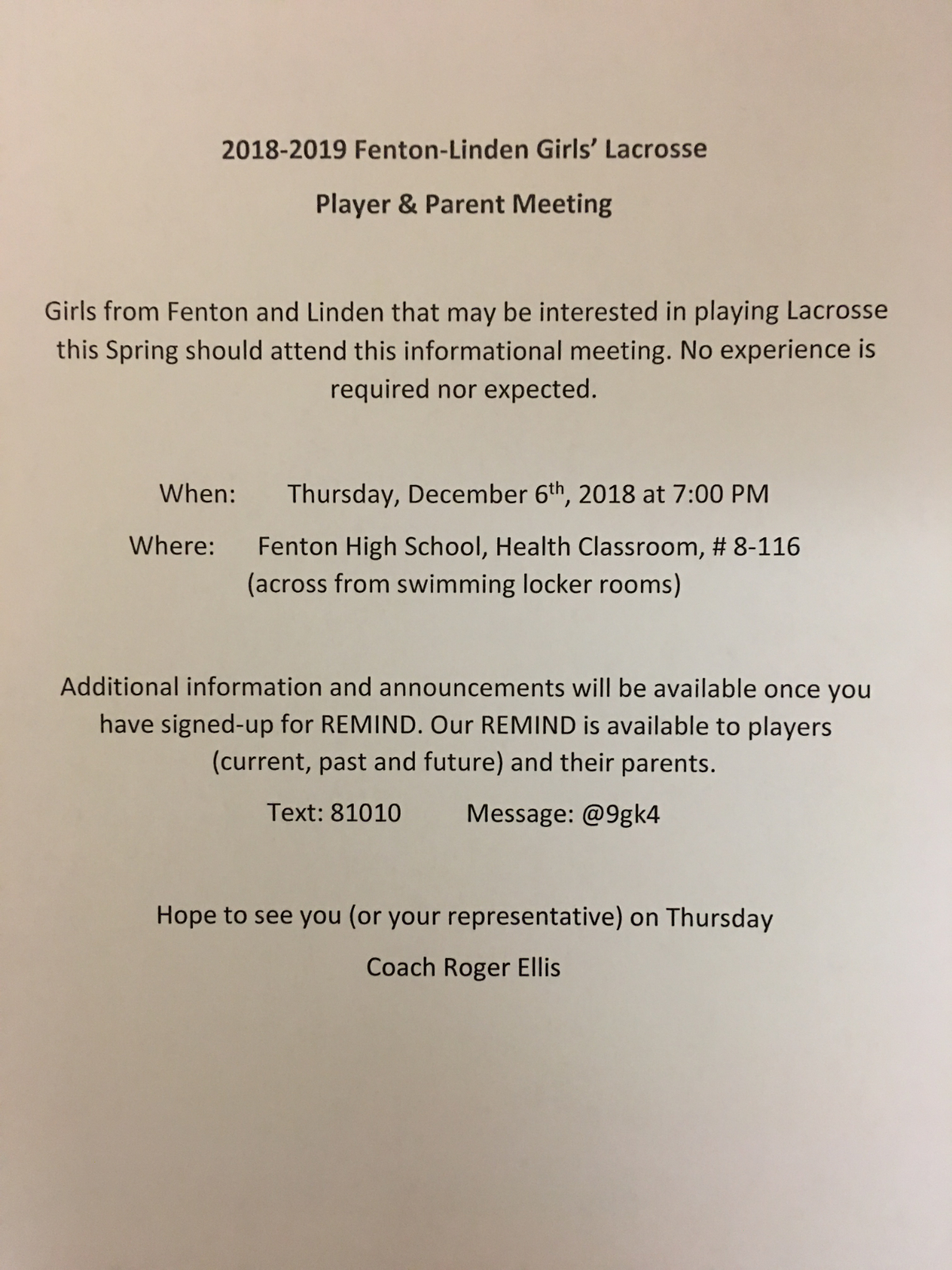 2019 Fenton-Linden Girls Lacrosse Player / Parent Meeting Information