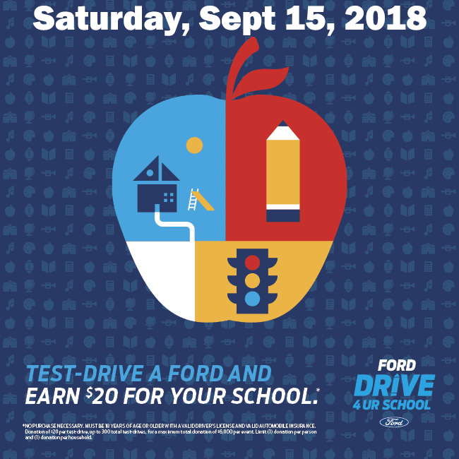 Sept. 15th — Test-Drive a Ford and Earn $20 for Your School