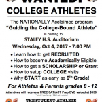 GUIDING THE COLLEGE BOUND ATHLETE SEMINAR – Wed., Oct. 4
