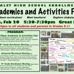 DON'T FORGET:  GRADES 8-11 ACADEMICS AND ACTIVITIES FAIR ON TUES., FEB. 20!