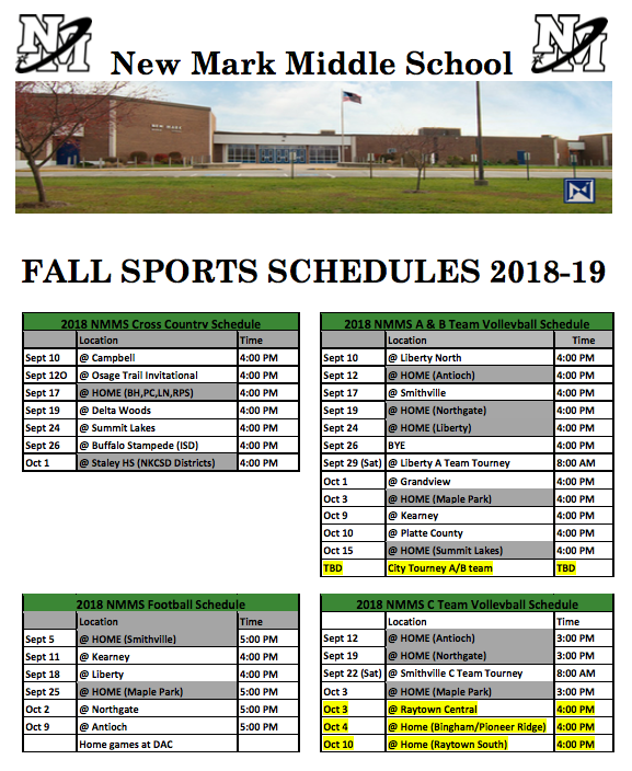 NEW MARK 2018-19 FALL SPORTS SCHEDULES