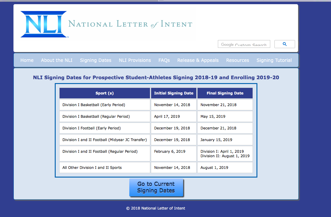 NATIONAL LETTER OF INTENT CEREMONY ON APRIL 17