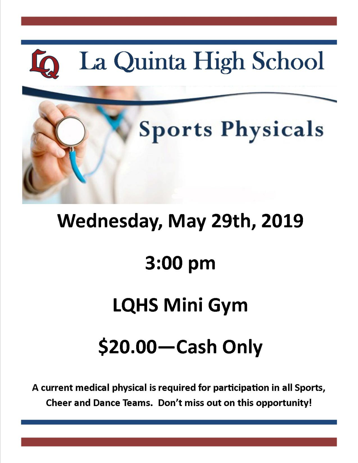 Sports physicals coming soon!!