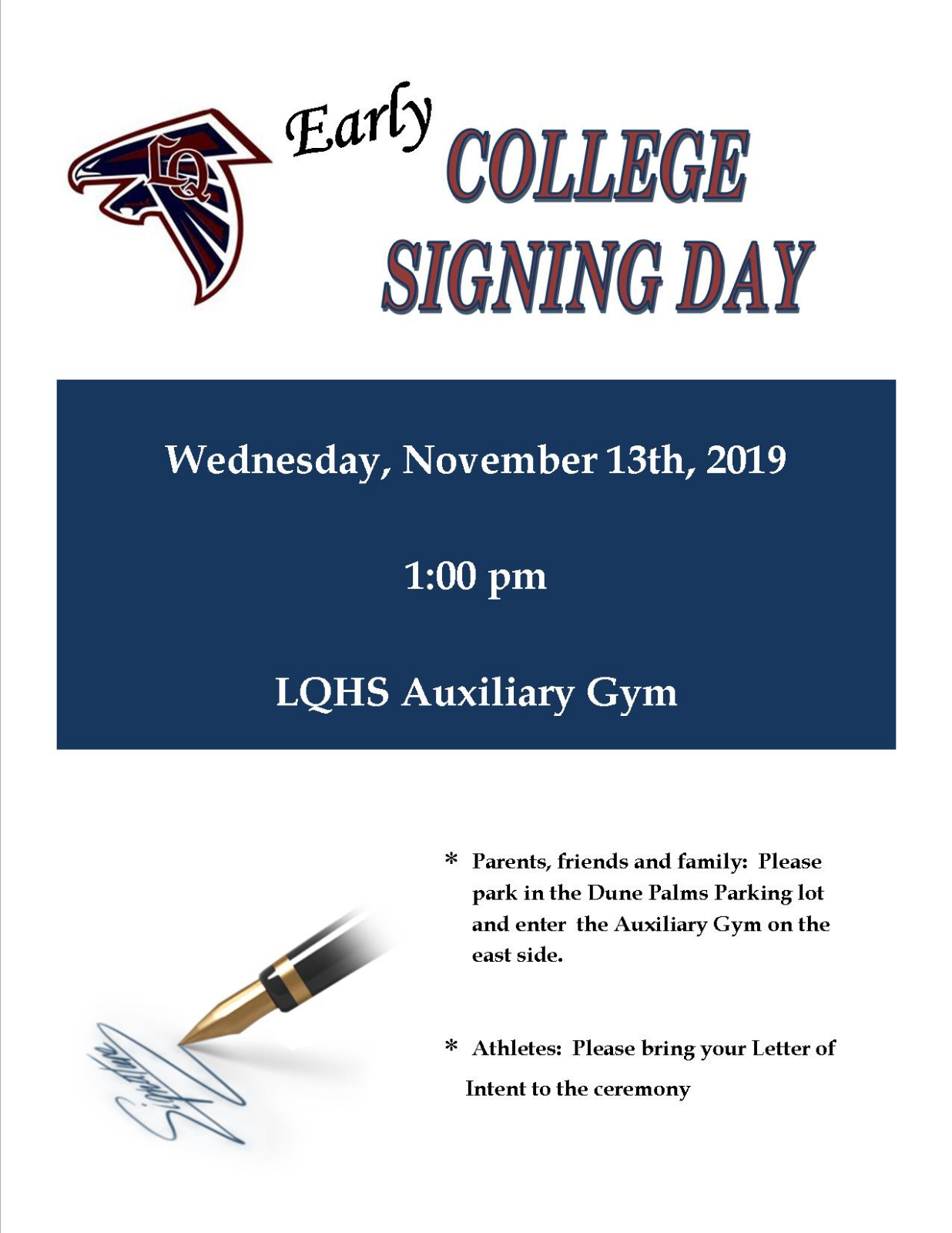 Early College Signing Day – November 13th