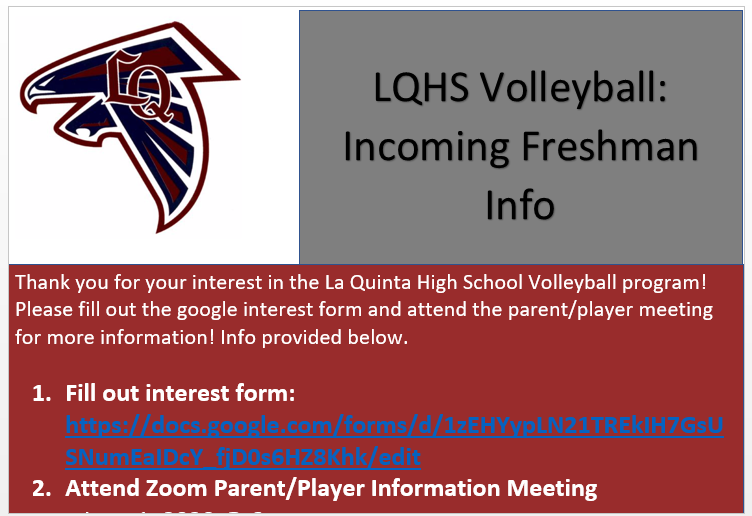 Freshman Volleyball Informational Zoom Meeting