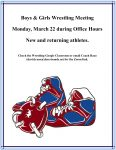 Wrestling Meeting on Monday, 3/22