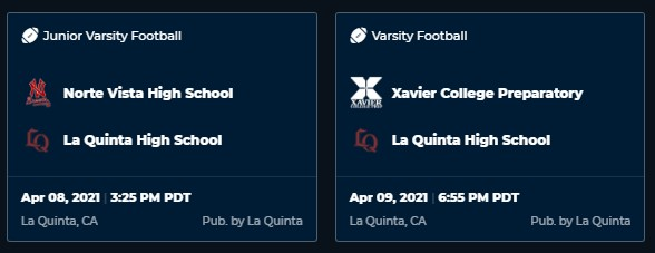 Livestreaming available for Football games on April 8th and 9th