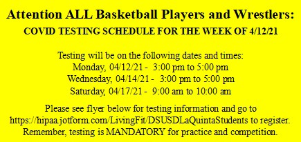 COVID Testing Schedule for Basketball and Wrestling – Week of 04/12/21
