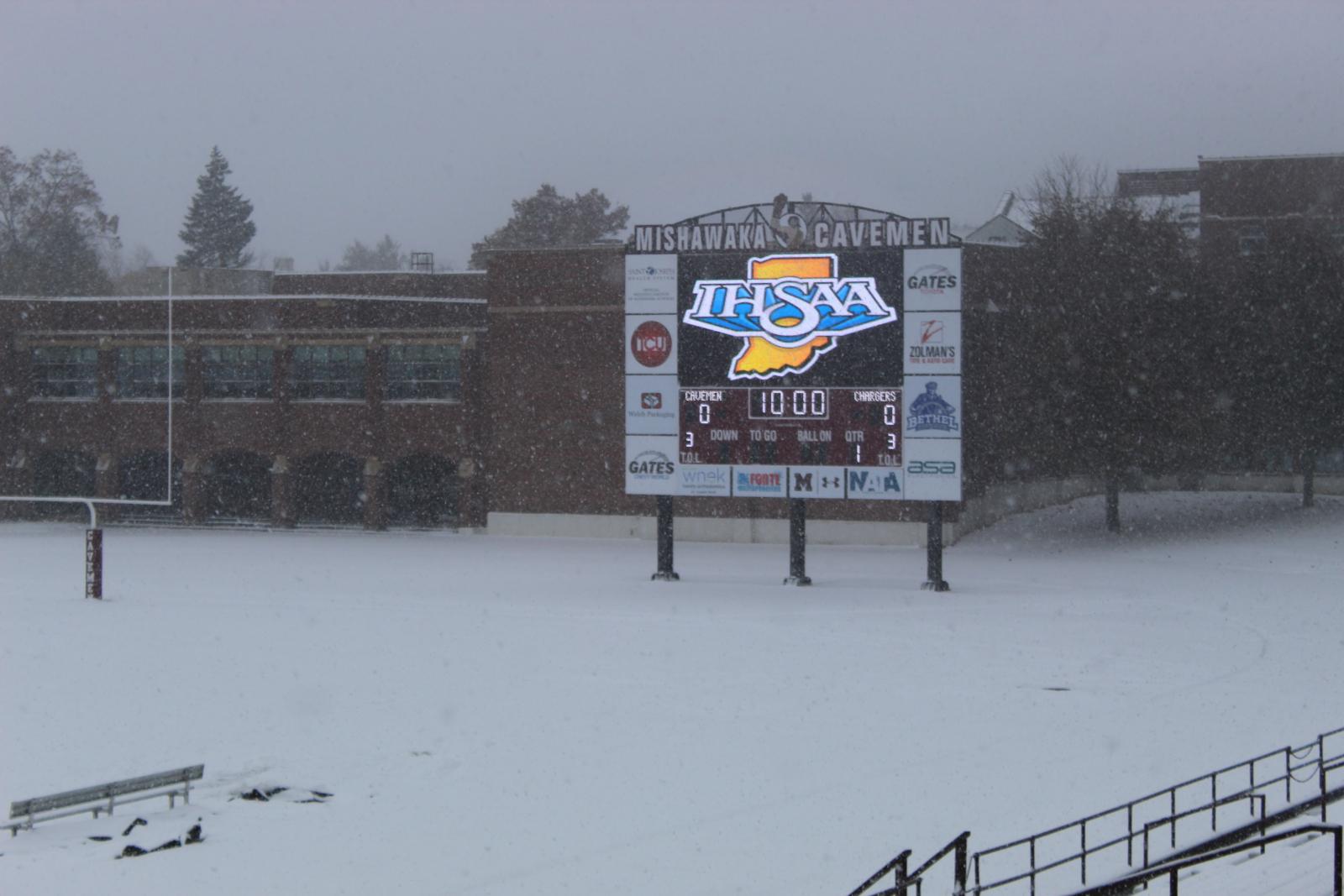 Mishawaka's Steele Stadium Frozen Over
