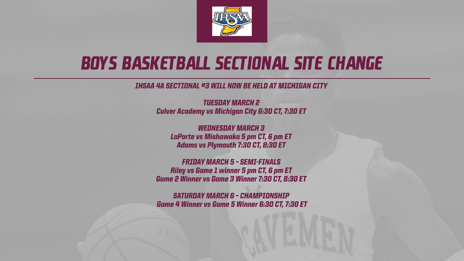 Boys Basketball Sectional Site has been moved to Michigan City