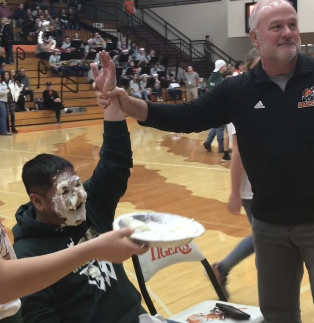 "Wawasee Principal Nguyen ""Wins"" Pie in face"