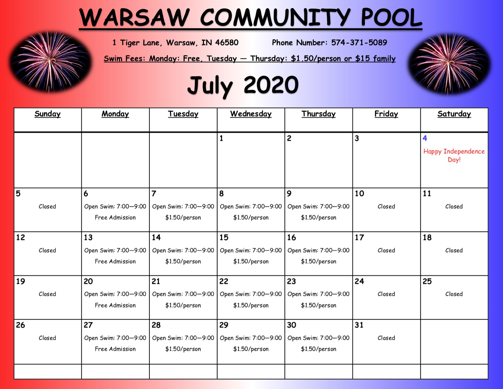 Warsaw Community Pool will re-open July 6th!