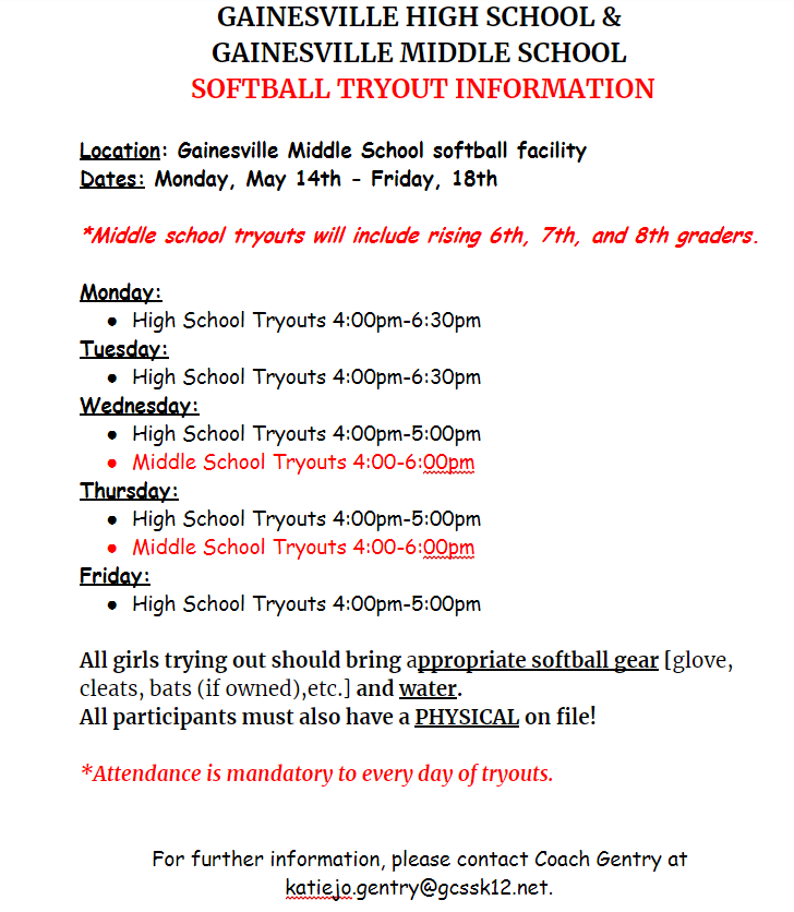 GHS/GMS Softball Tryouts Information