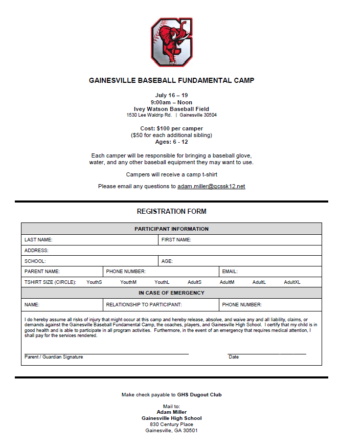 Baseball Youth Camp Information