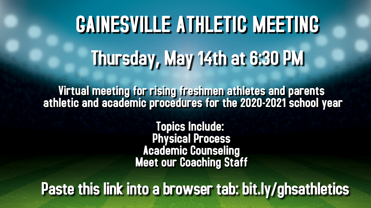 Don't miss tonight's Gainesville athletic meeting