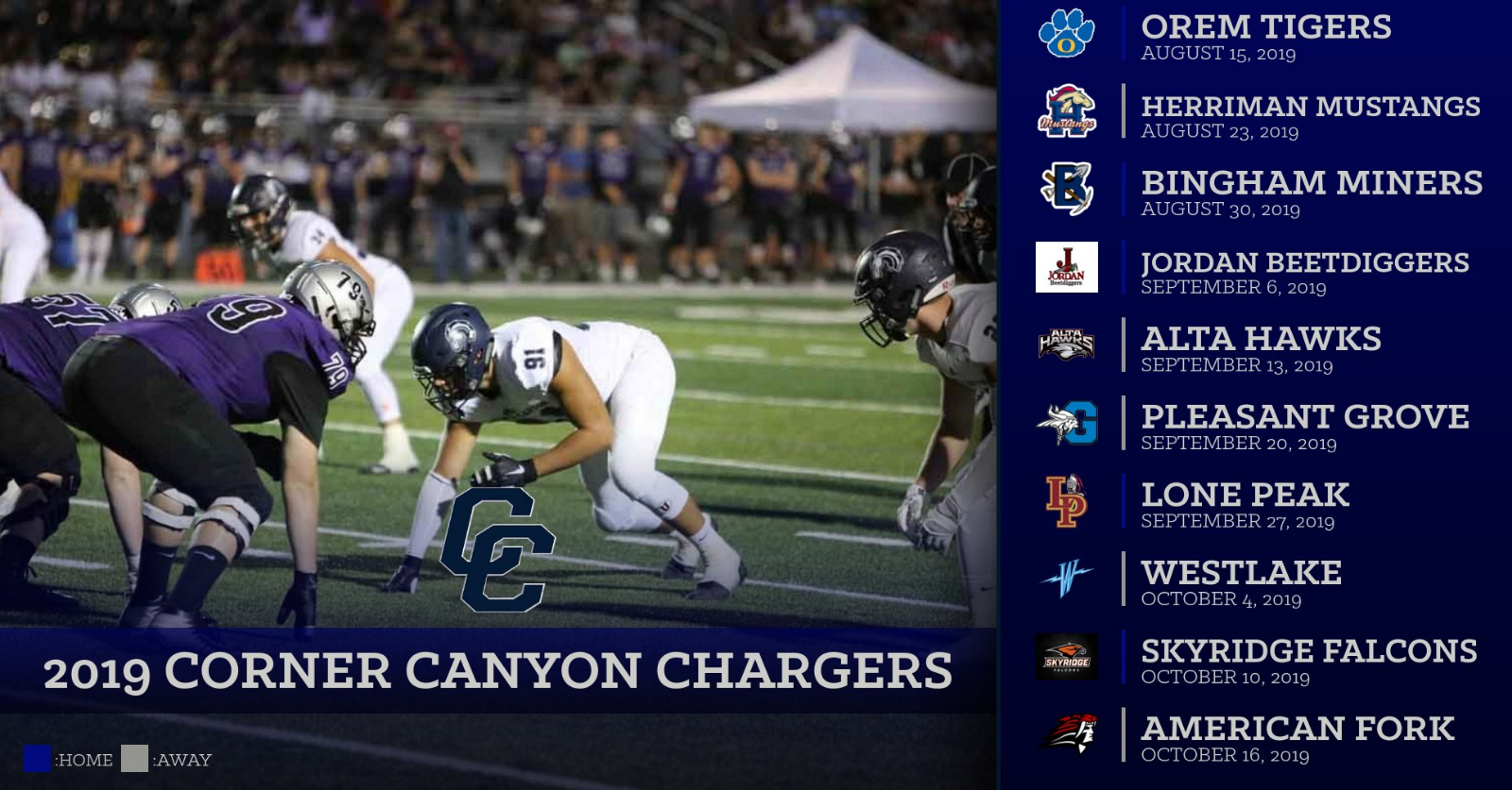 2019 Corner Canyon Football Schedule