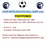 CCHS Boys' Fall Soccer Camp Oct. 28 – 29 & Nov. 2 – 3