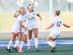 Girls soccer goal celebration