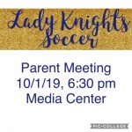 Parent Meeting Reminder: 10/1/19, 6:30 pm