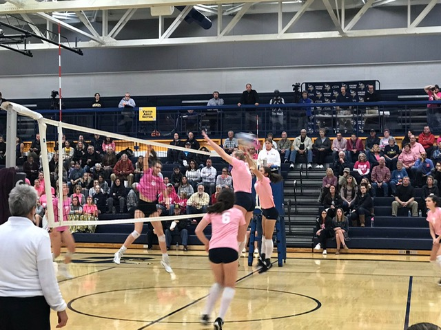 Volleyball Wins Dig Pink Game