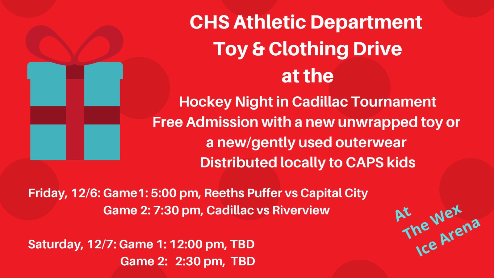 """""""Hockey Night in Cadillac"""" Winter Clothing and Toy Drive"""