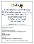 Available Coaching Positions for 2020-2021 School Year