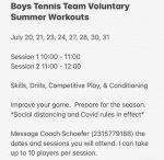 Boys Tennis Voluntary Summer Workouts