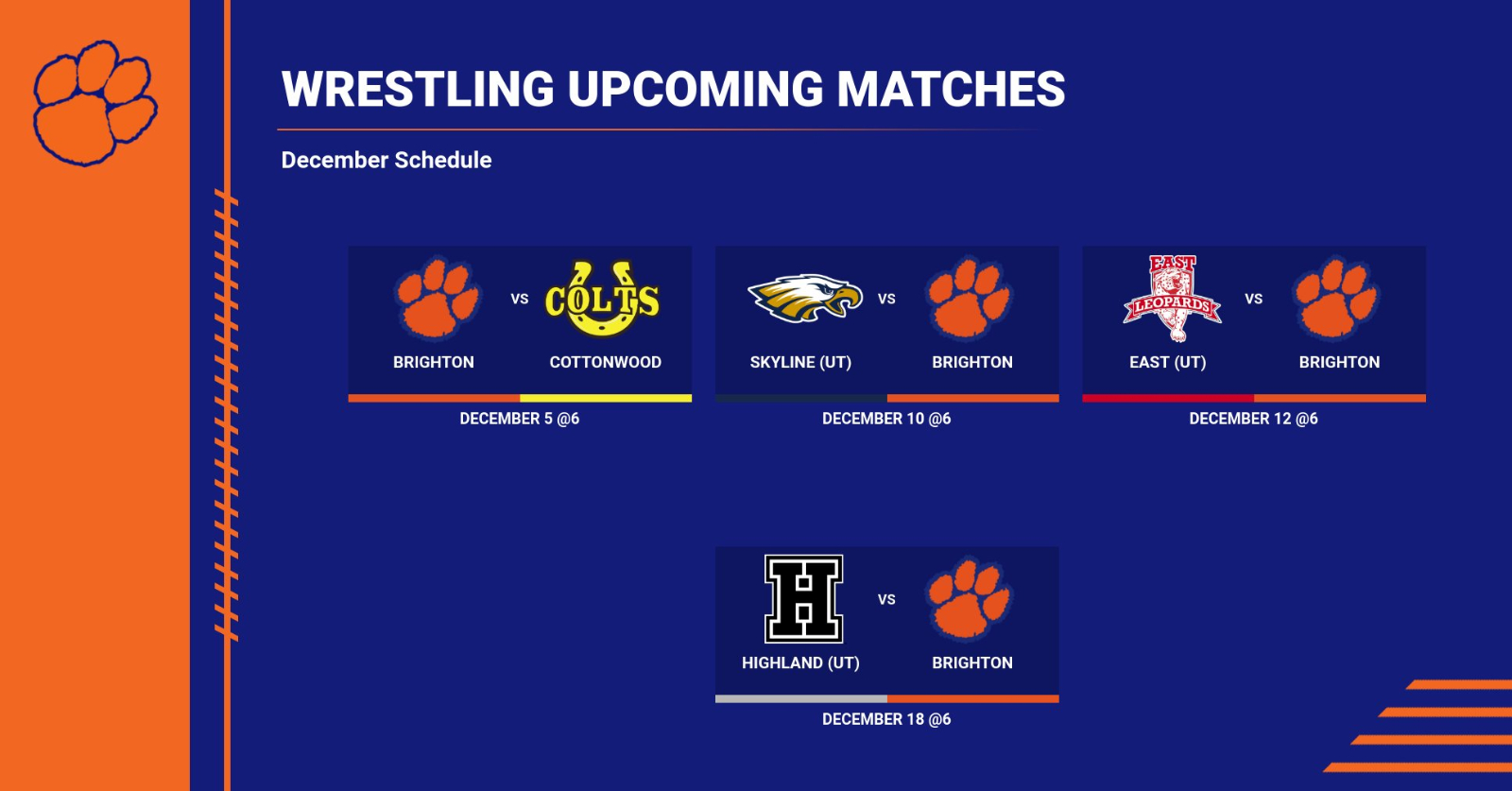 Wrestling: Upcoming Matches