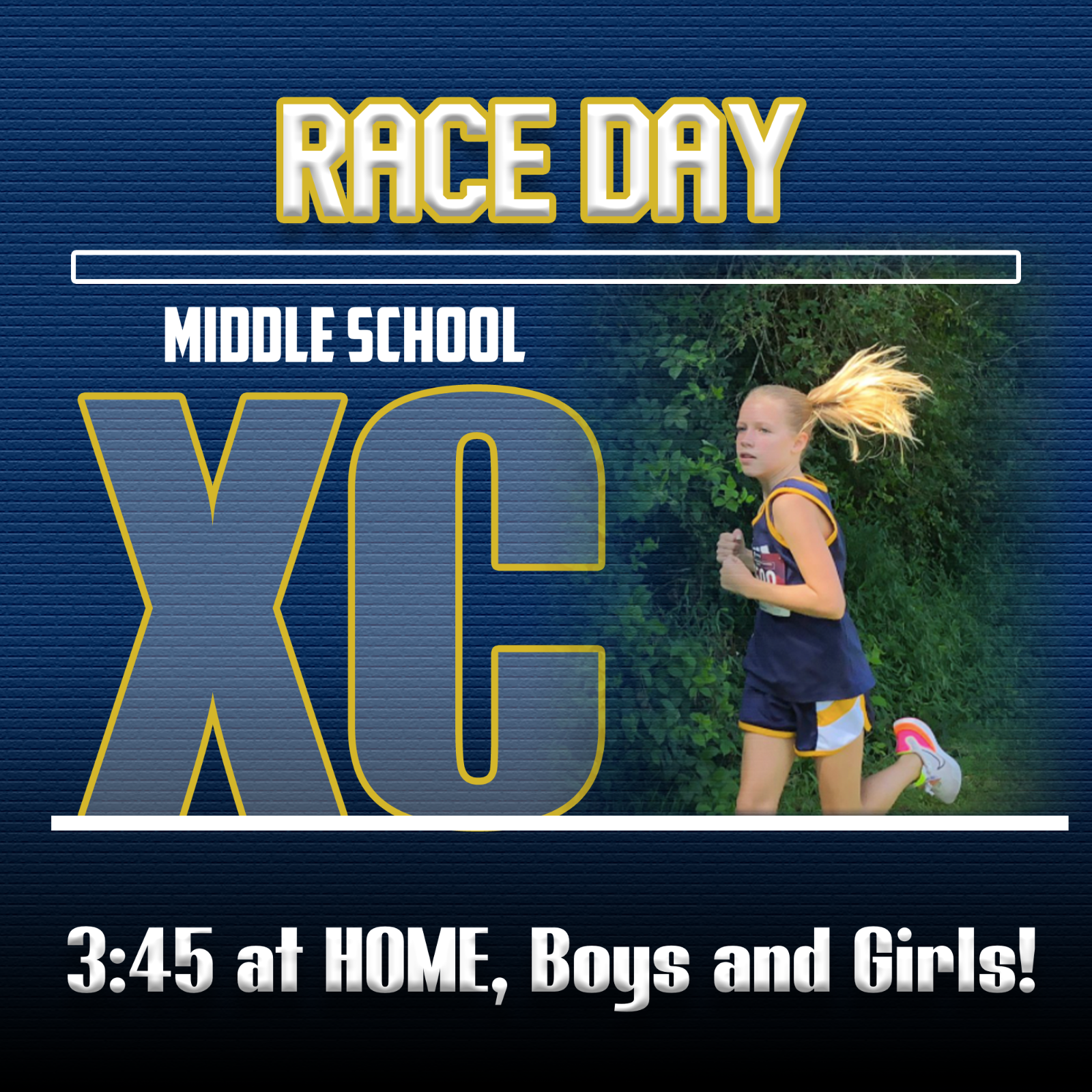Middle School Girls and Boys Cross Country race at HOME!