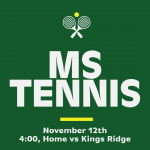 MATCH DAY: Middle School Tennis Hosts Kings Ridge