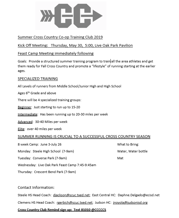 Cross Country Summer Workouts!!!!