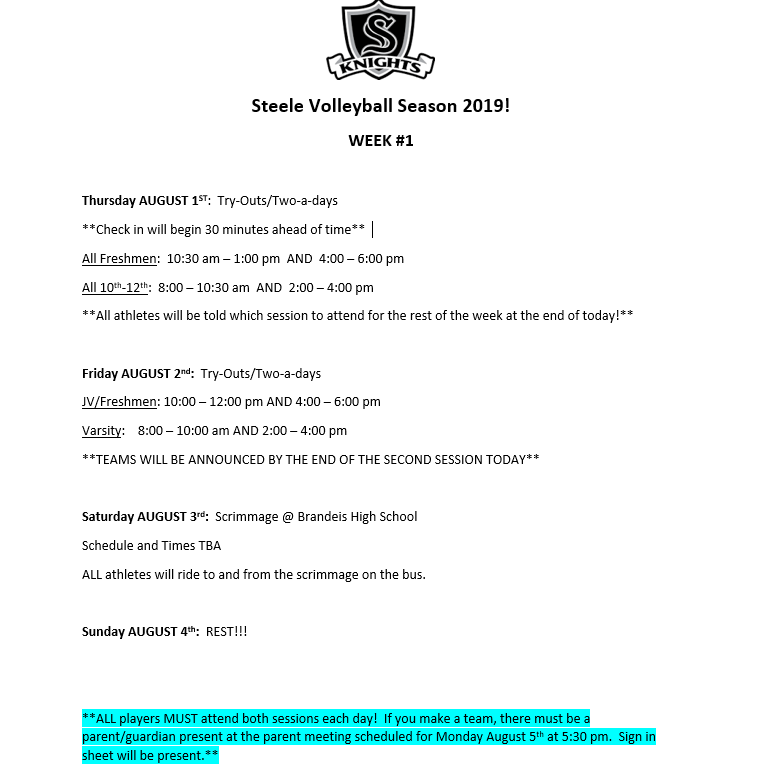 STEELE VOLLEYBALL TRY-OUT INFORMATION!!
