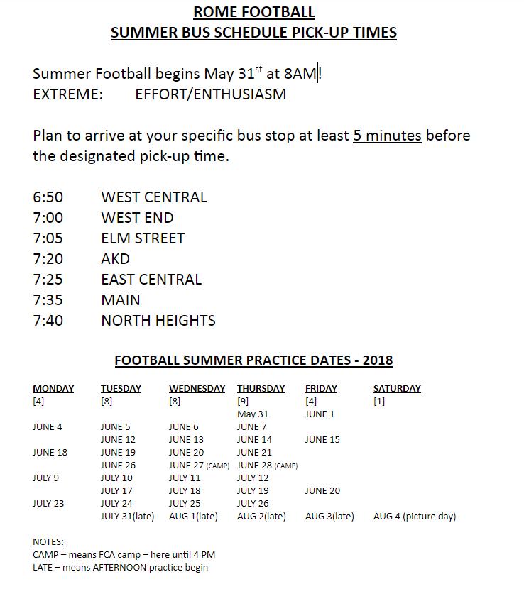Rome Football Summer Bus Schedule
