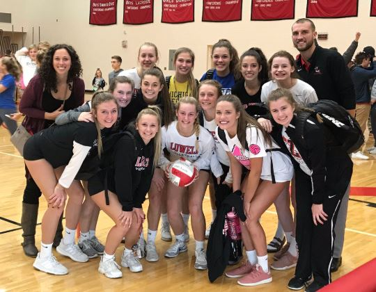 Lowell Varsity Volleyball beats Greenville 3 – 0