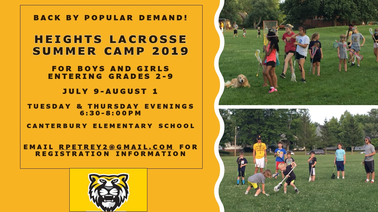 2019 Heights Youth Summer Lacrosse Camp Offered July 9-August 1