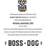 Boys Soccer Fundraiser at Boss Dog