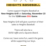 Baseball Fundraiser at New Heights Grill