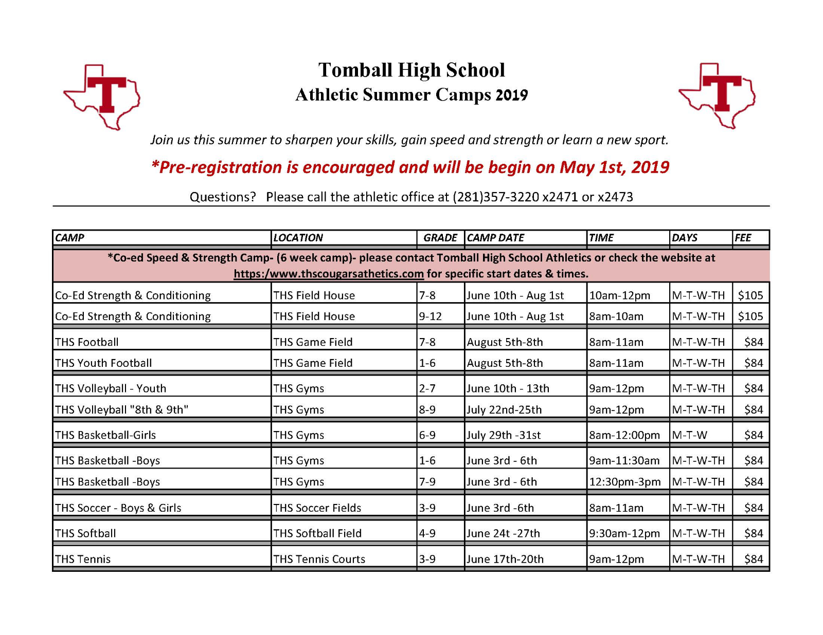 THS Summer Camps…Registration will begin MAY 1st!