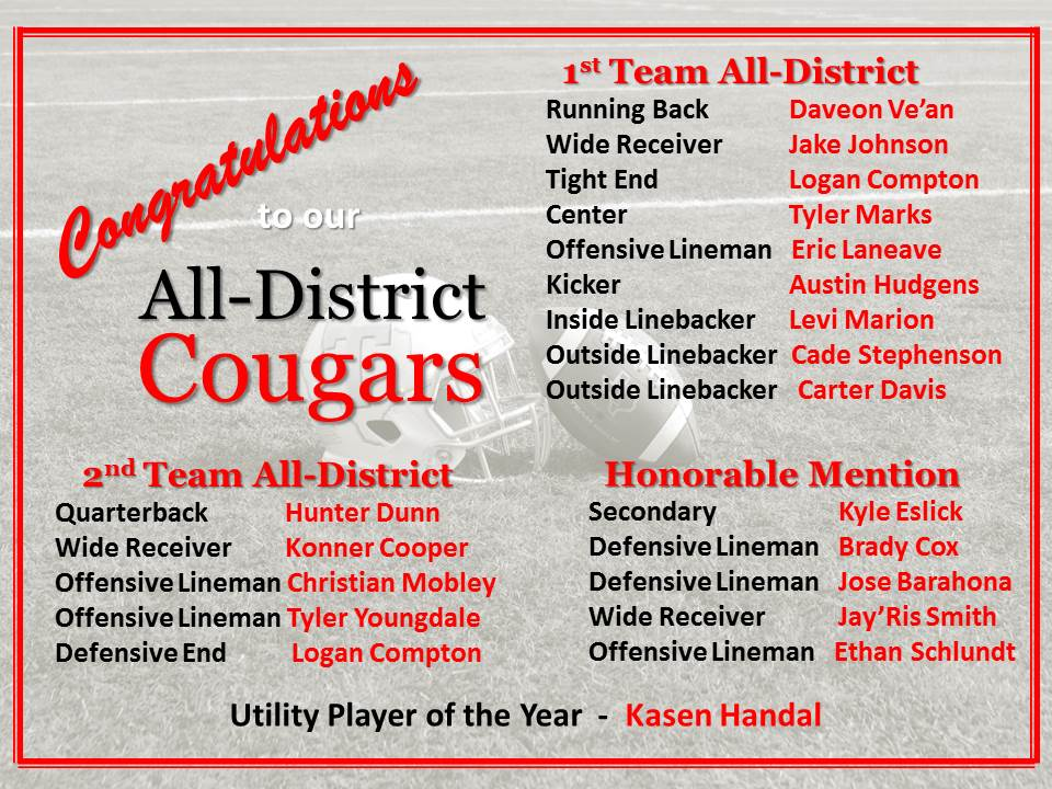 Congratulations to our Football All-District Recipients!